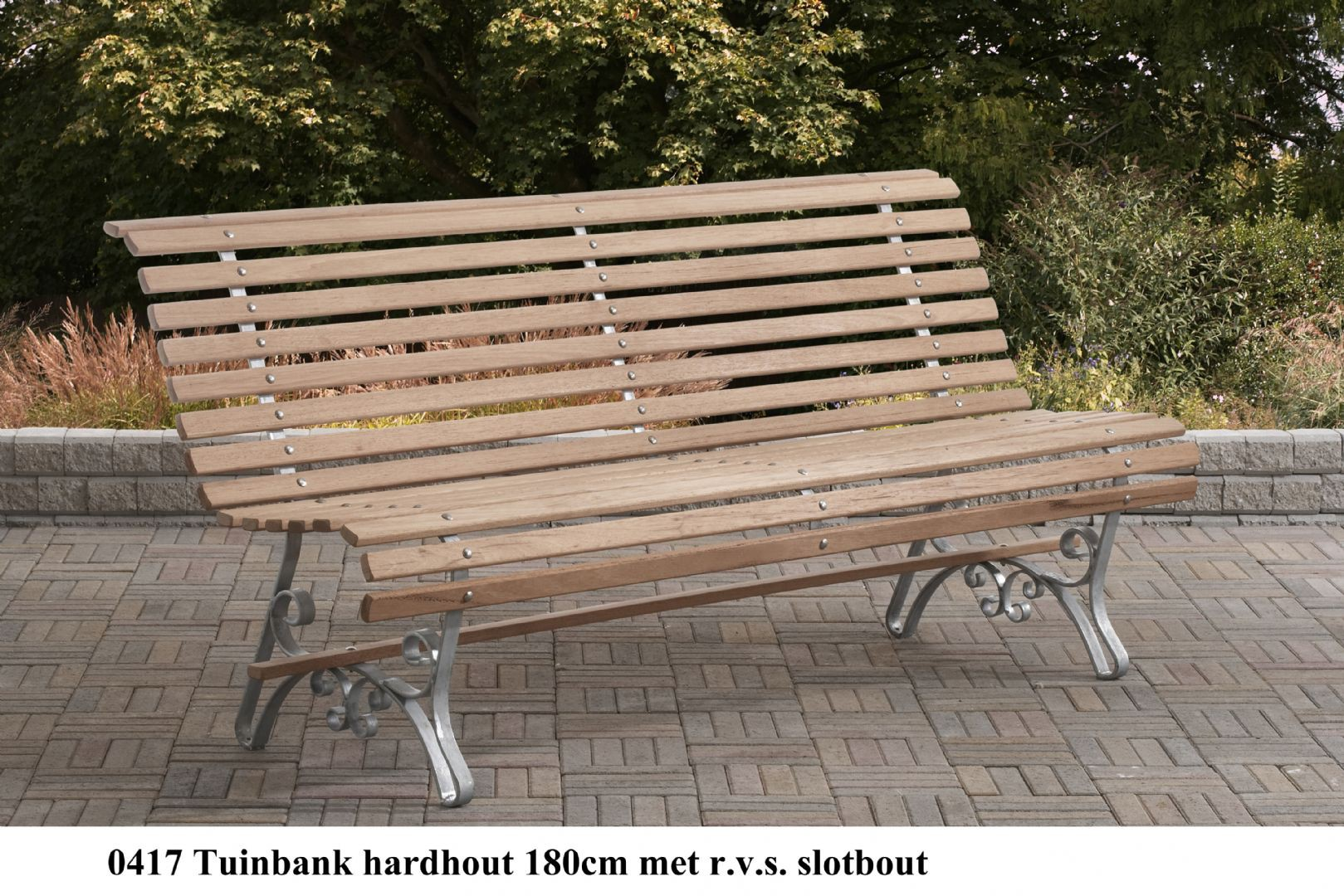 Beste Tuinbank hardhout (Jatoba)180 cm met r.v.s slotbouten WF-26