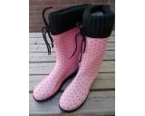 Rubber laars voor dames roze met zwarte stippen 37 t/m 41
