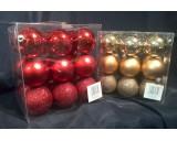Kunststof kerstballen, Ø 6 cm.  4 ds a 18 stuks
