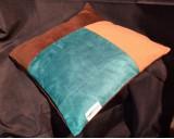 Bodema Kussen Velours. Kleur Bruin, Beige en Blauw 40x40cm
