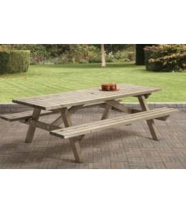 Picknicktafel 230 x 160 cm, 45 dik, dichte bank